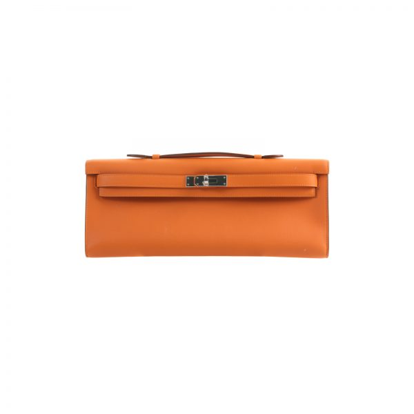 Orange Swift Kelly Cut Clutch Pochette by Hermes - Le Dressing Monaco
