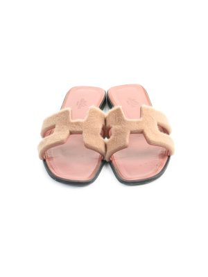 Pink Mink Fur Oran Sandals by Hermes - Le Dressing Monaco