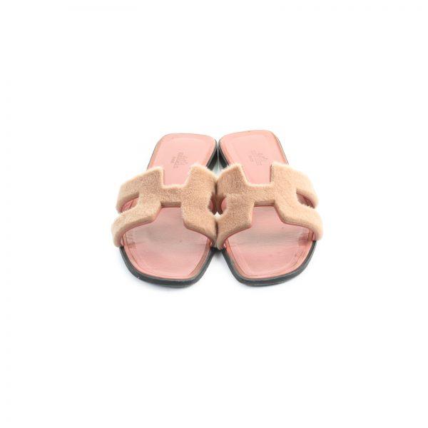 Pink Mink Fur Oran Sandals by Hermes - Le Dressing Monaco